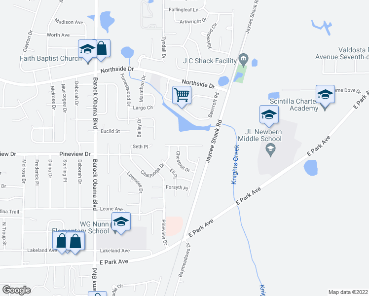 map of restaurants, bars, coffee shops, grocery stores, and more near 1801 Hazel Drive in Valdosta