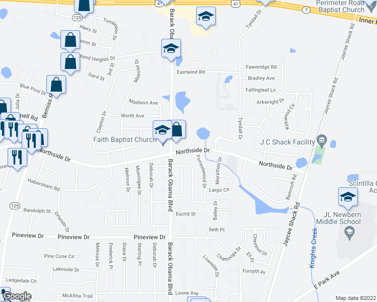 map of restaurants, bars, coffee shops, grocery stores, and more near 2527 North Forrest Street in Valdosta