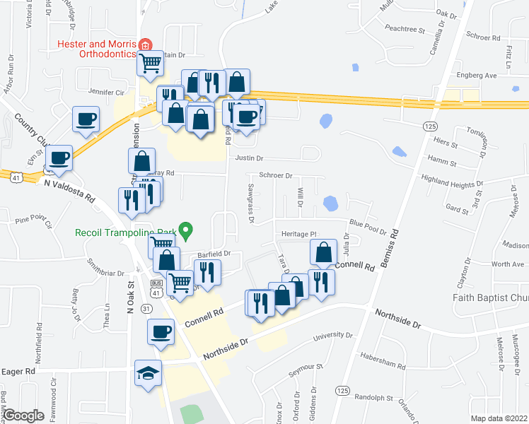 map of restaurants, bars, coffee shops, grocery stores, and more near 338 Sawgrass Drive in Valdosta