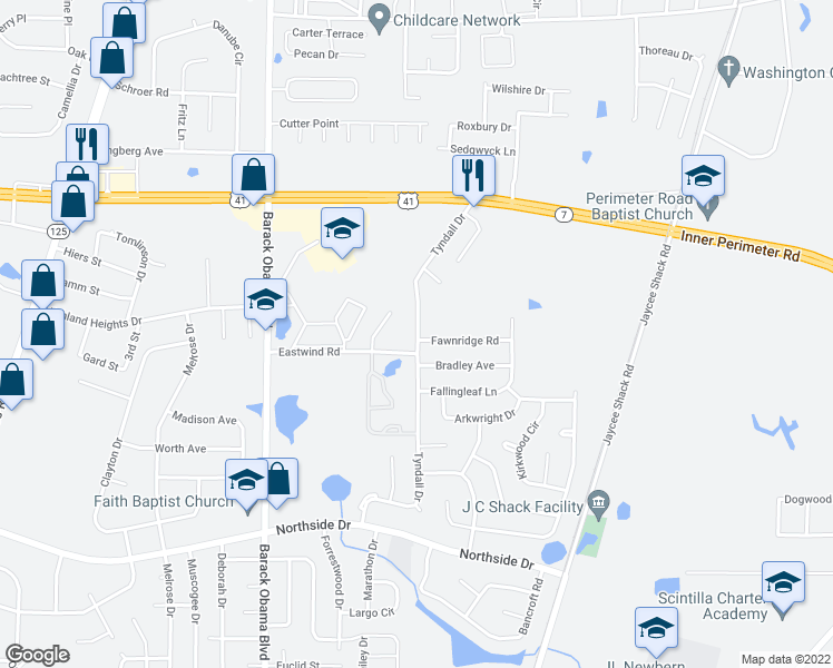 map of restaurants, bars, coffee shops, grocery stores, and more near 1800 Eastwind Road in Valdosta