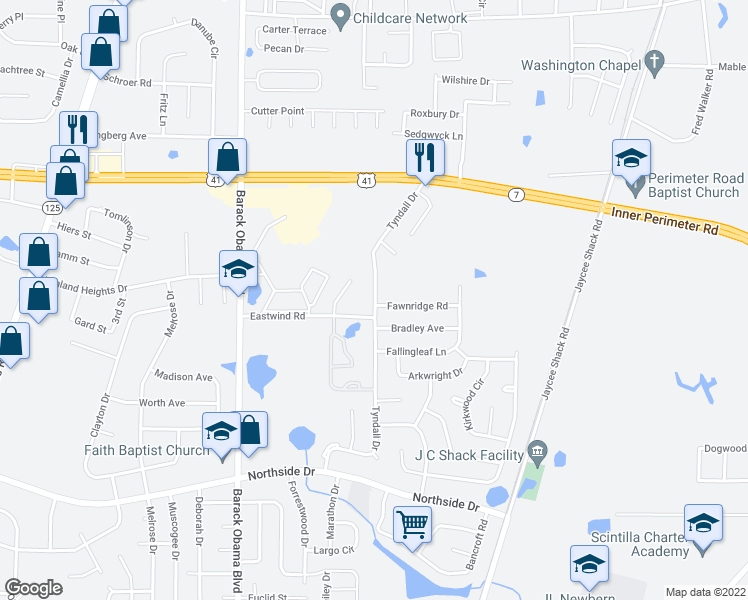 map of restaurants, bars, coffee shops, grocery stores, and more near Eastwind Road in Valdosta