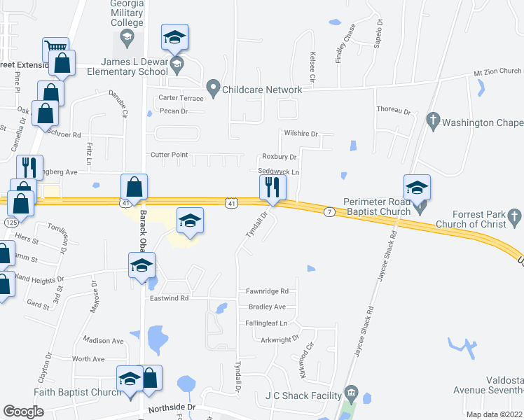 map of restaurants, bars, coffee shops, grocery stores, and more near 3210 Tyndall Drive in Valdosta
