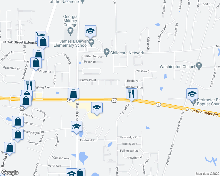 map of restaurants, bars, coffee shops, grocery stores, and more near 3847-3991 Inner Perimeter Road in Valdosta