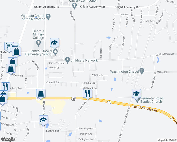 map of restaurants, bars, coffee shops, grocery stores, and more near 4246 Wilshire Drive in Valdosta