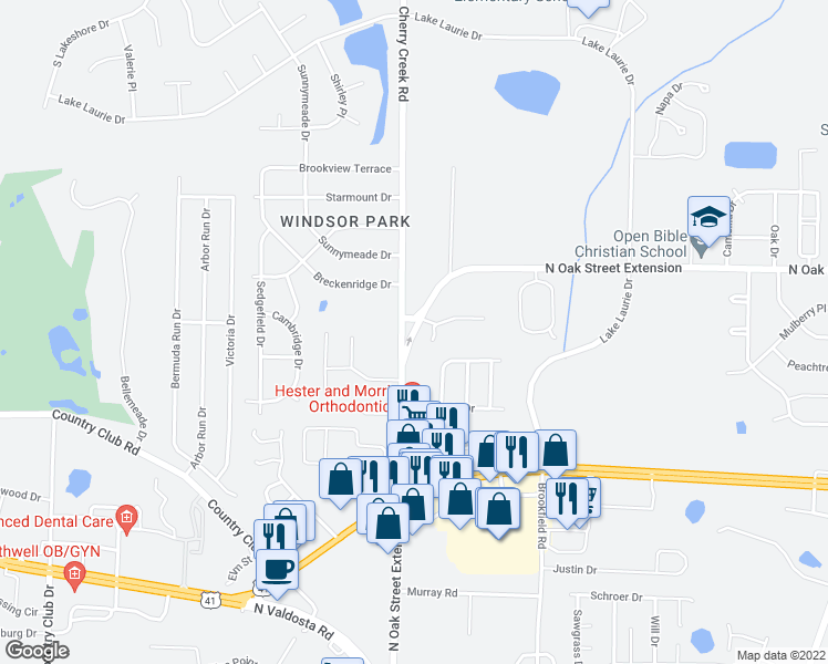 map of restaurants, bars, coffee shops, grocery stores, and more near 3833 North Oak Street in Valdosta