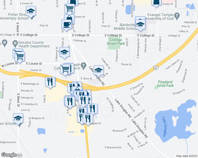 map of restaurants, bars, coffee shops, grocery stores, and more near 1302 Lake Douglas Road in Bainbridge