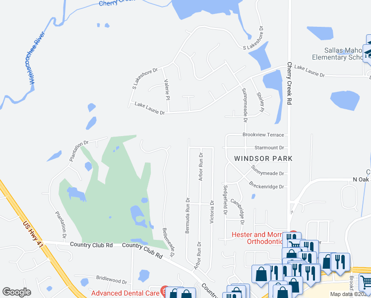 map of restaurants, bars, coffee shops, grocery stores, and more near 3810 Bermuda Run Drive in Valdosta