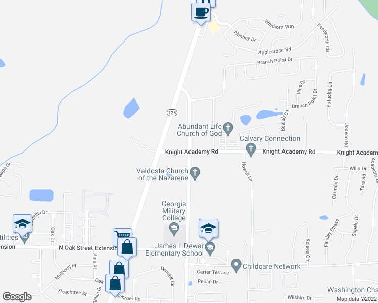 map of restaurants, bars, coffee shops, grocery stores, and more near 3367-3395 Knights Academy Road in Valdosta