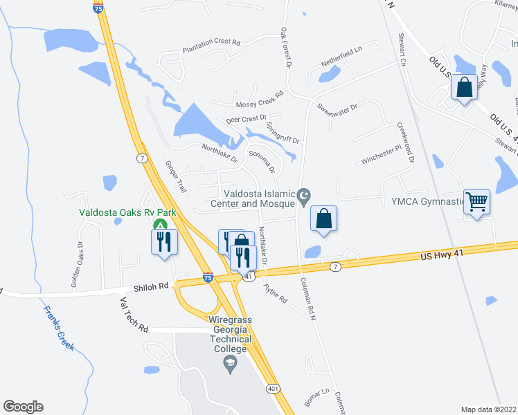 map of restaurants, bars, coffee shops, grocery stores, and more near 4001 Coleman Road North in Valdosta
