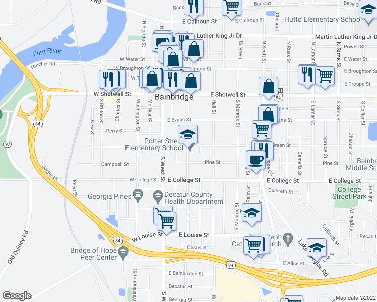 map of restaurants, bars, coffee shops, grocery stores, and more near 700 East Green Street in Bainbridge