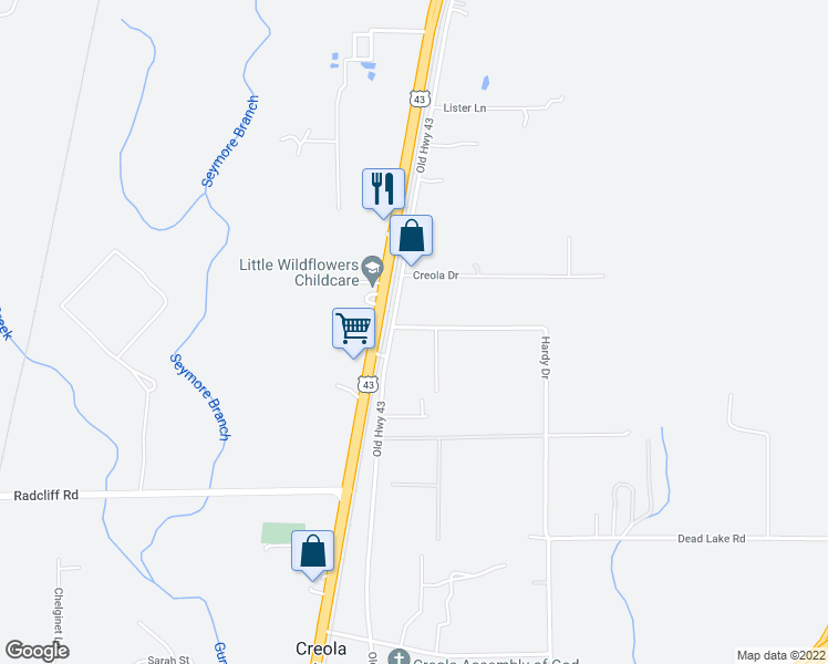 map of restaurants, bars, coffee shops, grocery stores, and more near Hardy Drive in Creola