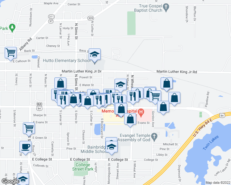 map of restaurants, bars, coffee shops, grocery stores, and more near 104 North Thronateeska Drive in Bainbridge