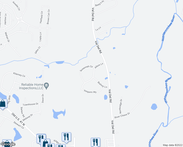 map of restaurants, bars, coffee shops, grocery stores, and more near 3860 Allure Lane in Valdosta