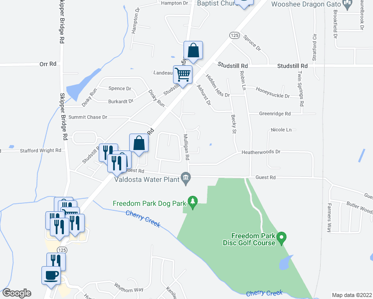 map of restaurants, bars, coffee shops, grocery stores, and more near 4185 Hamilton Circle in Valdosta