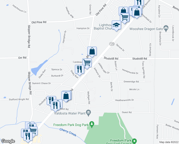 map of restaurants, bars, coffee shops, grocery stores, and more near 4357 Bemiss Road in Valdosta