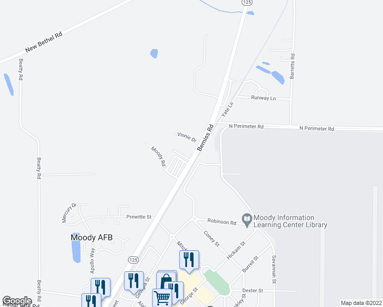 map of restaurants, bars, coffee shops, grocery stores, and more near 6000 Susan Circle in Valdosta