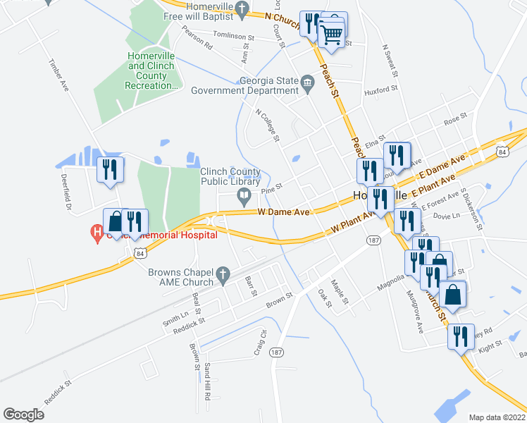 map of restaurants, bars, coffee shops, grocery stores, and more near East Park Street in Homerville