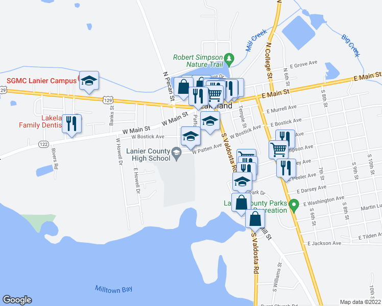 map of restaurants, bars, coffee shops, grocery stores, and more near 300-336 West Cherry Avenue in Lakeland