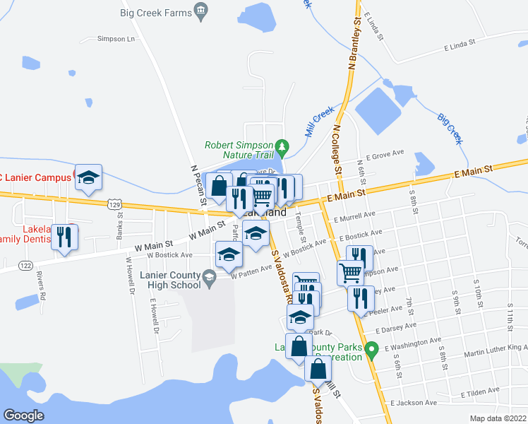 map of restaurants, bars, coffee shops, grocery stores, and more near Lakeland Highway in Lakeland