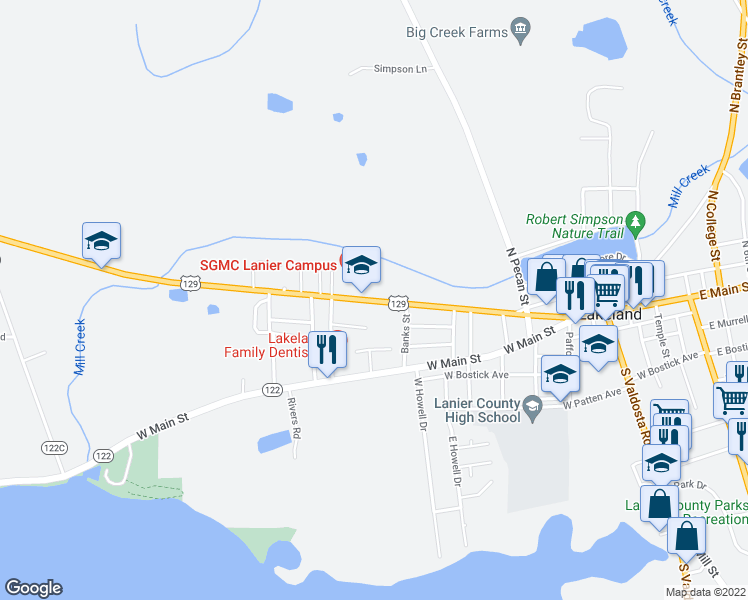 map of restaurants, bars, coffee shops, grocery stores, and more near 800-830 West Thigpen Avenue in Lakeland