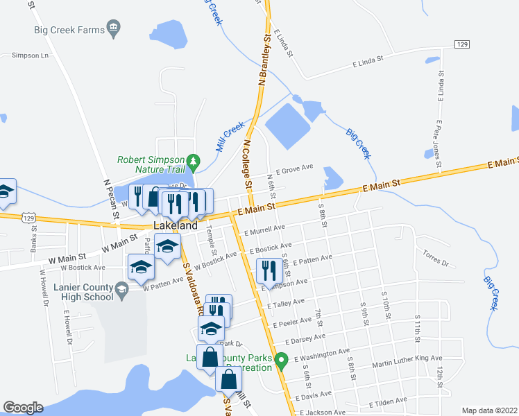 map of restaurants, bars, coffee shops, grocery stores, and more near 501-599 East Church Street in Lakeland
