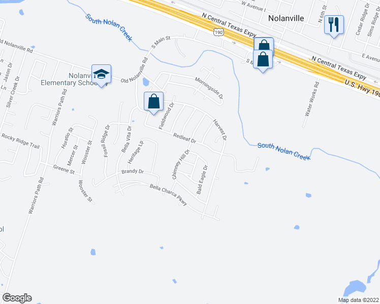map of restaurants, bars, coffee shops, grocery stores, and more near 1010 Bald Eagle Drive in Nolanville