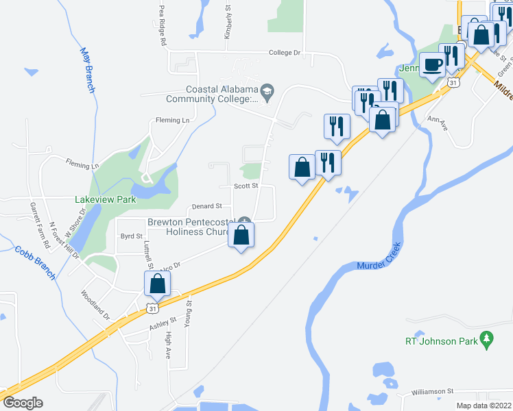 map of restaurants, bars, coffee shops, grocery stores, and more near Alco Drive in Brewton
