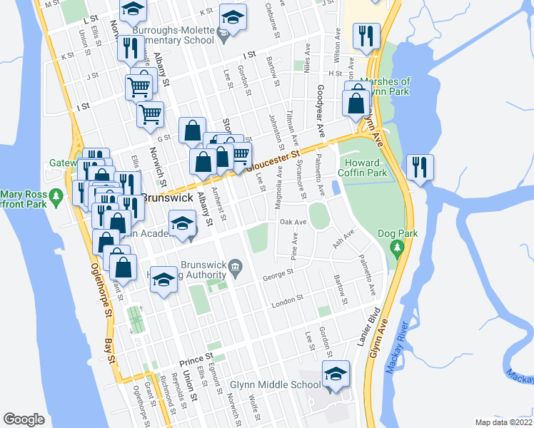 map of restaurants, bars, coffee shops, grocery stores, and more near 1308 Stonewall Street in Brunswick