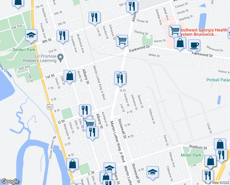 map of restaurants, bars, coffee shops, grocery stores, and more near 1508 R Street in Brunswick