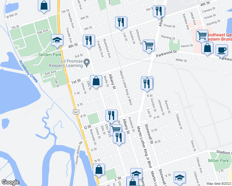 map of restaurants, bars, coffee shops, grocery stores, and more near 2900 Albany Street in Brunswick