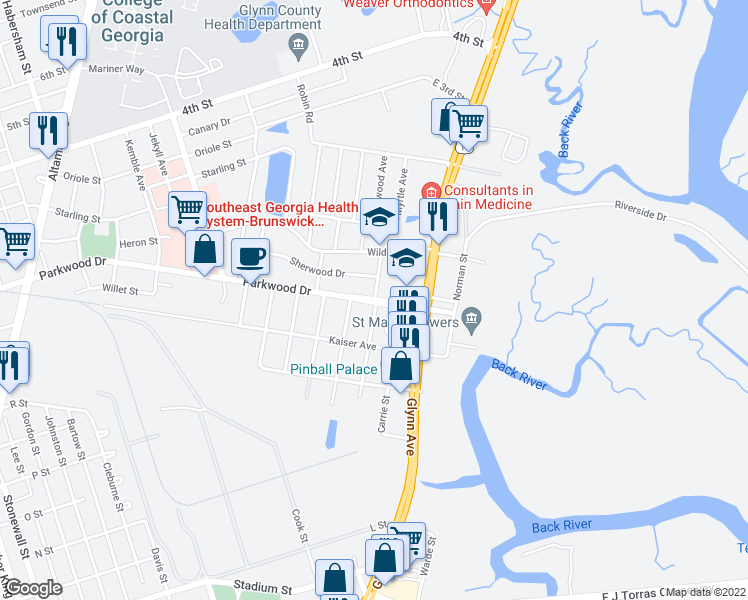map of restaurants, bars, coffee shops, grocery stores, and more near 3105 Parkwood Drive in Brunswick