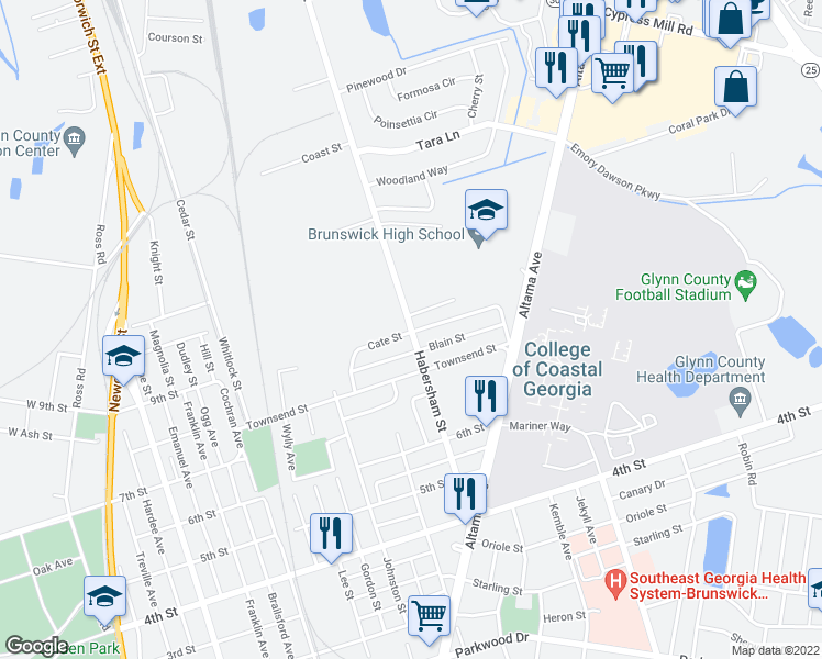 map of restaurants, bars, coffee shops, grocery stores, and more near 2361 Cate Street in Brunswick