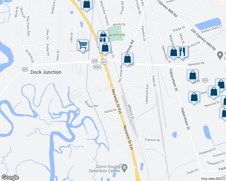 map of restaurants, bars, coffee shops, grocery stores, and more near 122 Old Jesup Road in Brunswick