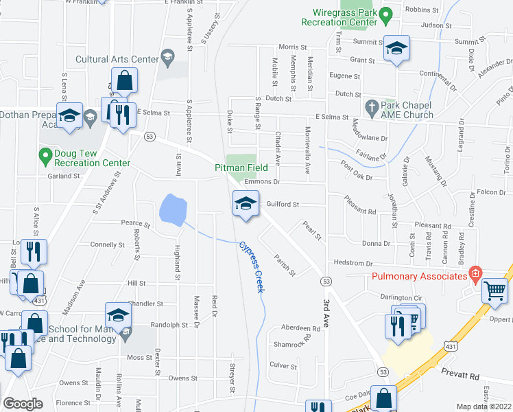 map of restaurants, bars, coffee shops, grocery stores, and more near 668-698 East Cottonwood Road in Dothan