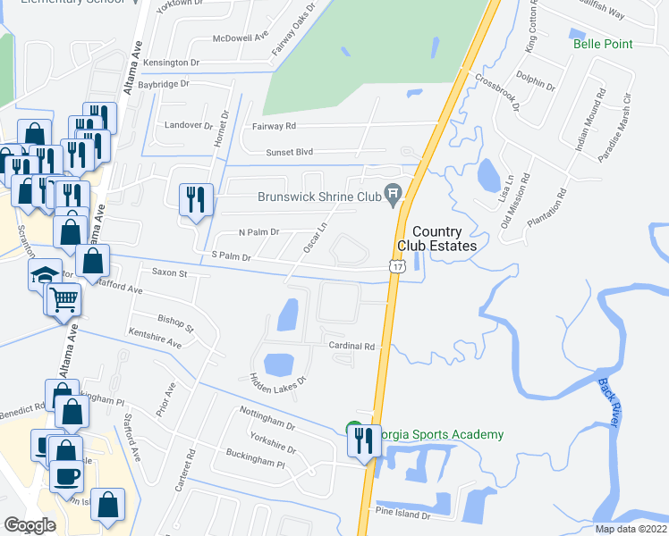 map of restaurants, bars, coffee shops, grocery stores, and more near 111 South Palm Drive in Brunswick