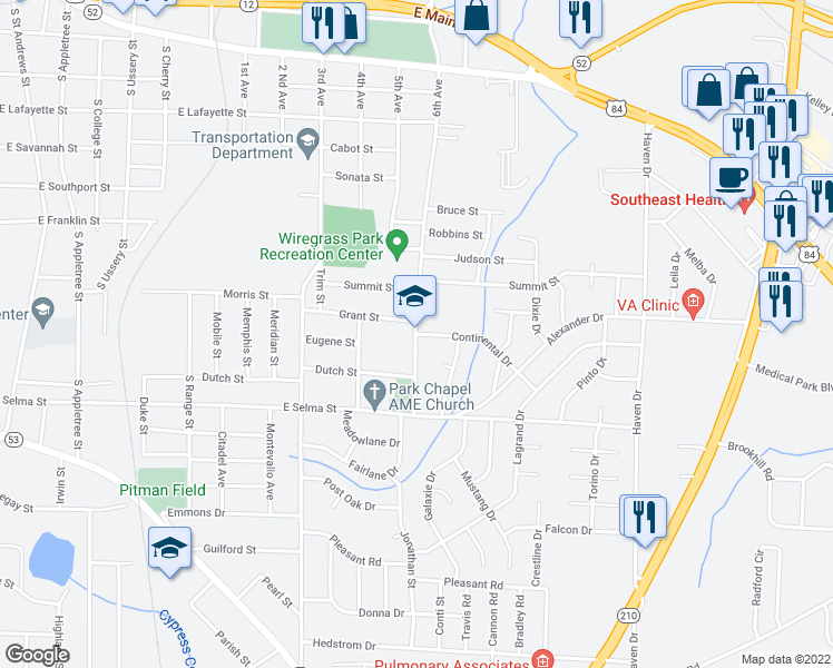 map of restaurants, bars, coffee shops, grocery stores, and more near 900 6th Avenue in Dothan
