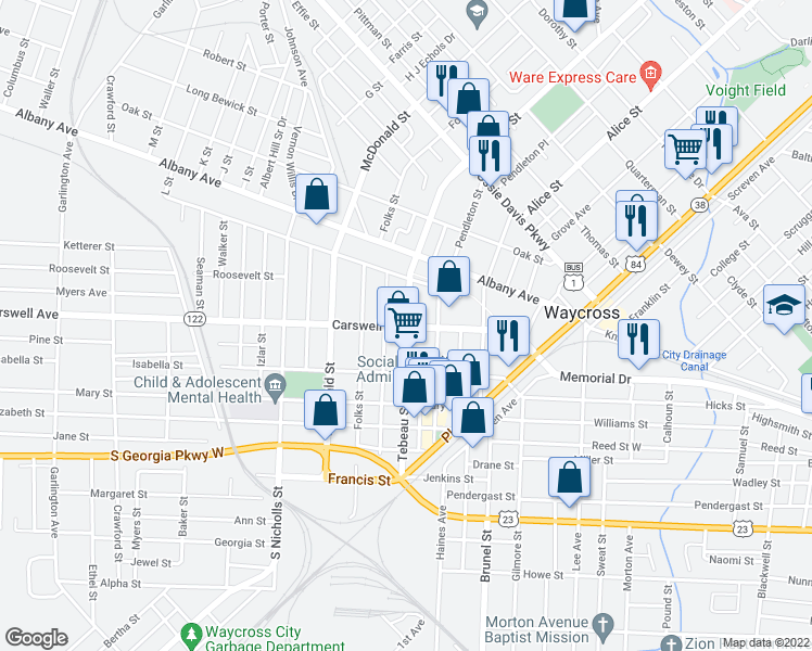 map of restaurants, bars, coffee shops, grocery stores, and more near 624 Tebeau Street in Waycross