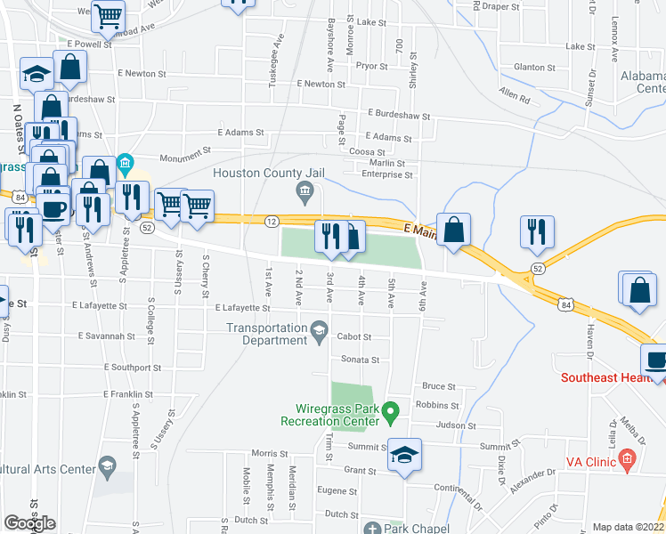 map of restaurants, bars, coffee shops, grocery stores, and more near 900 Columbia Hwy in Dothan
