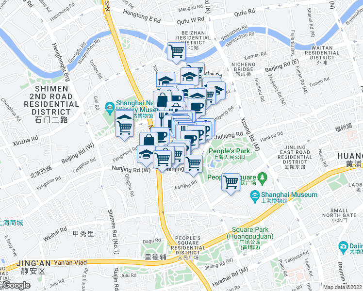 map of restaurants, bars, coffee shops, grocery stores, and more near in Shanghai