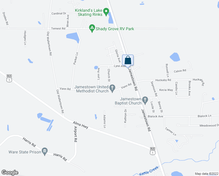 map of restaurants, bars, coffee shops, grocery stores, and more near 3965 Church Street in Waycross