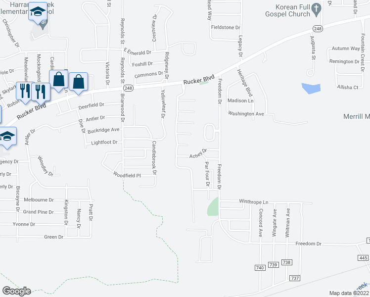 map of restaurants, bars, coffee shops, grocery stores, and more near 2820 Brad Way in Enterprise