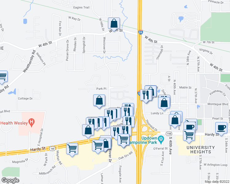 map of restaurants, bars, coffee shops, grocery stores, and more near 1 Commerce Drive in Hattiesburg