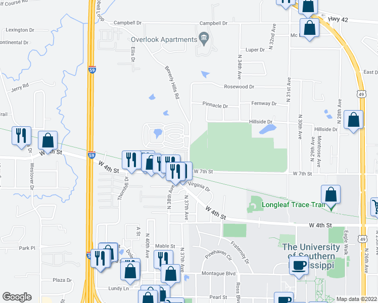 map of restaurants, bars, coffee shops, grocery stores, and more near 546-796 Beverly Hills Road in Hattiesburg