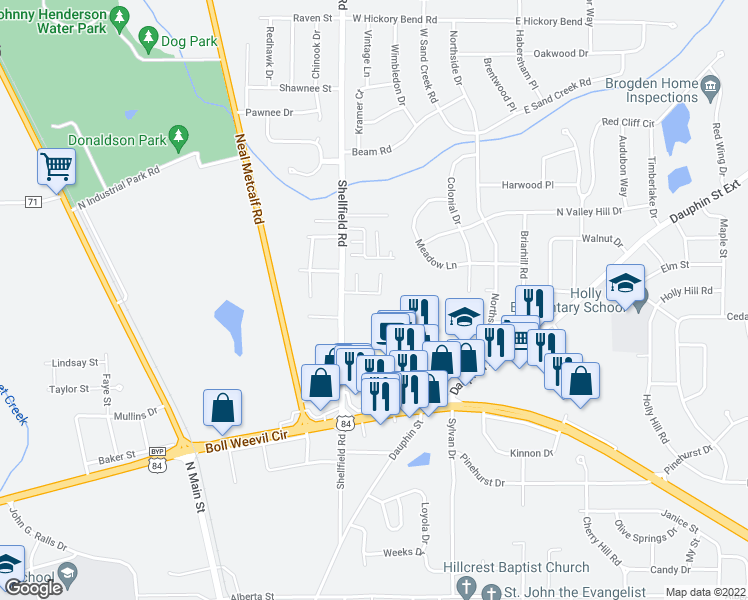 map of restaurants, bars, coffee shops, grocery stores, and more near 220 Eagle Landing in Enterprise