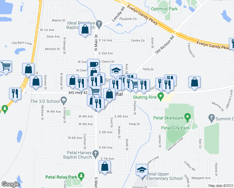 map of restaurants, bars, coffee shops, grocery stores, and more near in Petal
