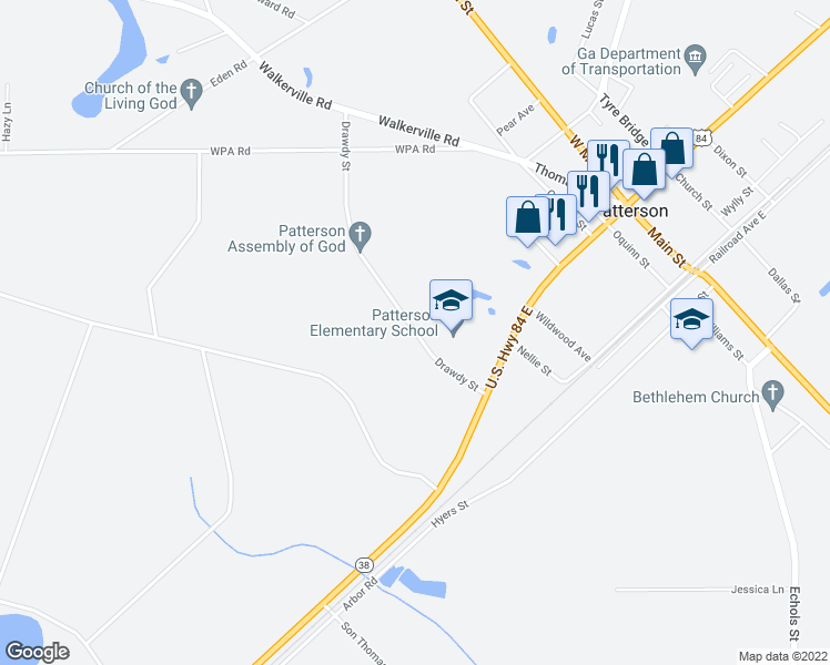 map of restaurants, bars, coffee shops, grocery stores, and more near Drawdy Road in Patterson