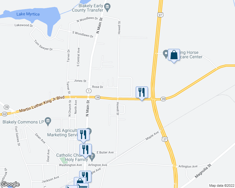 map of restaurants, bars, coffee shops, grocery stores, and more near State Route 39 in Blakely