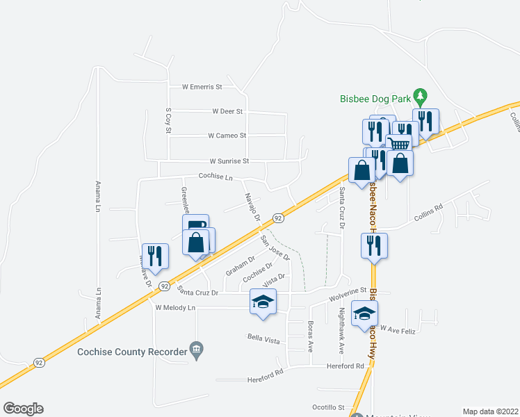 map of restaurants, bars, coffee shops, grocery stores, and more near 100 Navajo Drive in Bisbee