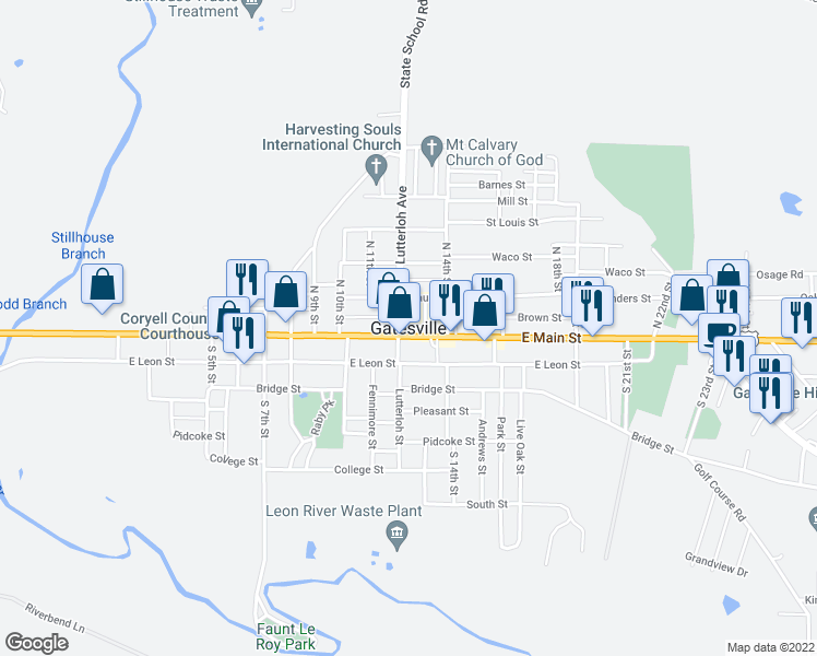 map of restaurants, bars, coffee shops, grocery stores, and more near in Gatesville