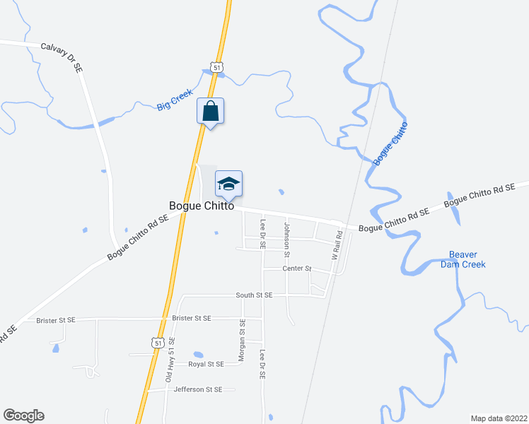 map of restaurants, bars, coffee shops, grocery stores, and more near Lee Drive Southeast in Bogue Chitto